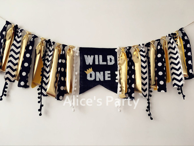 New Black Gold Wild One Inspired Highchair Banner Boy 1st Birthday Party Garland Bunting Baby Shower