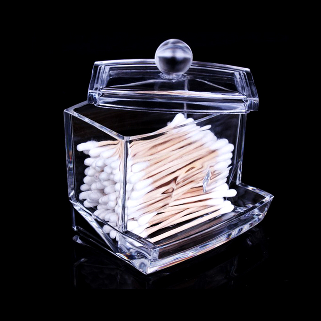 Clear Acrylic Cotton Swab Q Tip Storage Holder Box Cosmetic Makeup Case  Cosmetic Makeup Tool