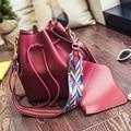2016 summer new fashion bucket bag shoulder stra Korean version casual female bag women Messenger bag PU leather composite bags