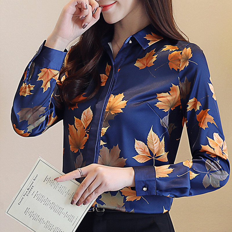 Women Tops And Blouses White Blouse Ladies Tops Korean Floral Long Sleeve Shirts For Women OL Blouses Femme Blusa Plus Size XXXL