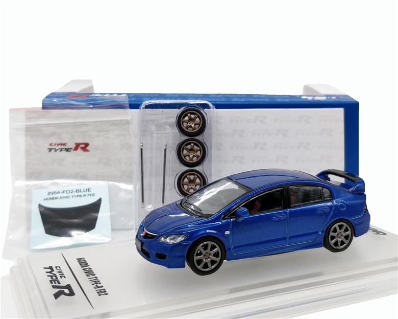 1:64 INNO64 Honda Civic FD2 2007 Blue Diecast Model Car