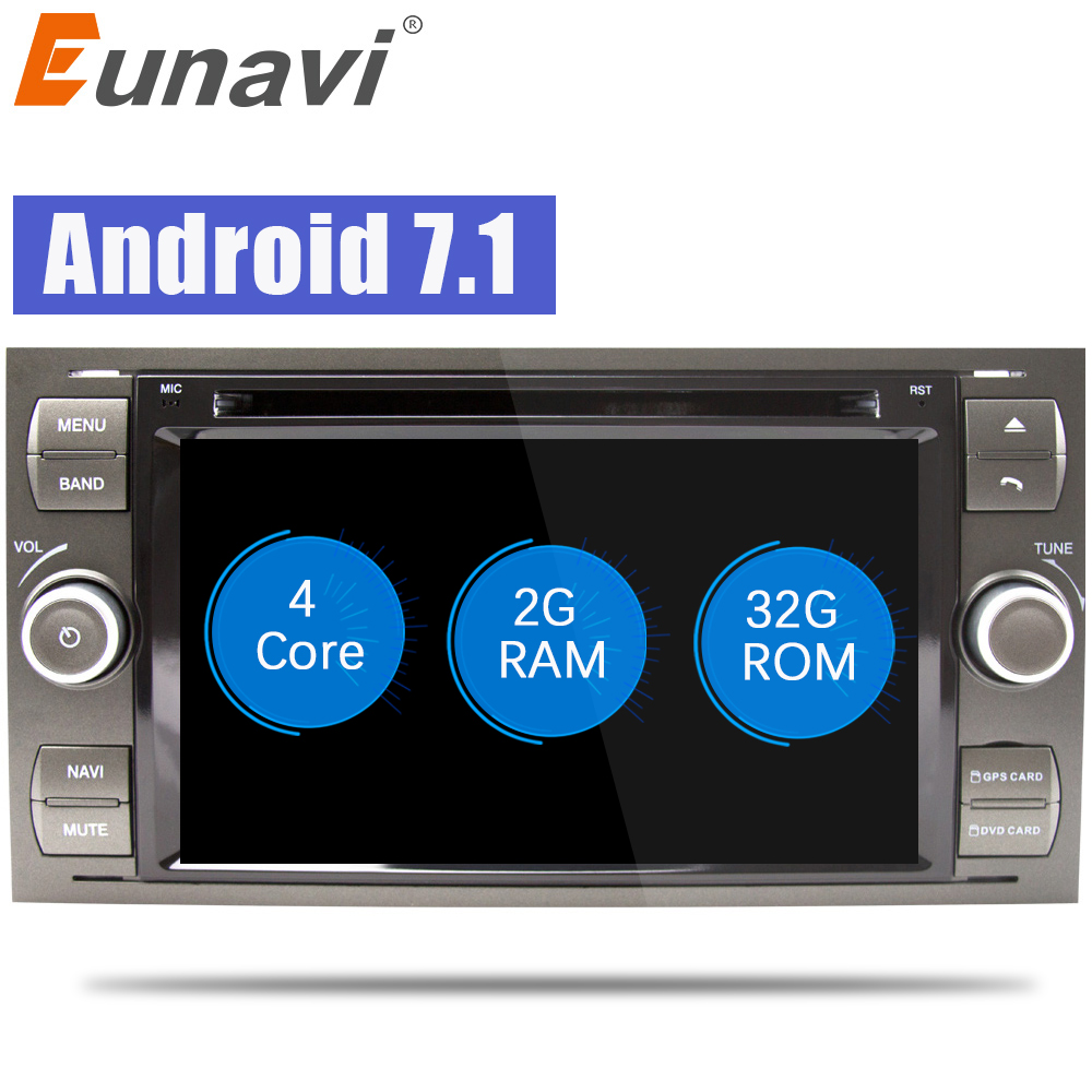 Eunavi Android 7.1 Quad core RAM 2G /1G Car DVD GPS Radio stereo For Ford Mondeo S-max Focus C-MAX Galaxy Fiesta Form Fusion PC android 6 0 1 octa core capacitive car pc dvd radio gps for ford focus fusion explorer expedition f150 f500 escape edge mustang
