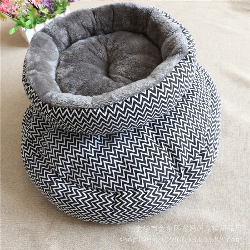Pet Dog Cat Print Bed Flannelette Thickening and Warm Circle Breathable Pet Nest For Dogs thumbnail