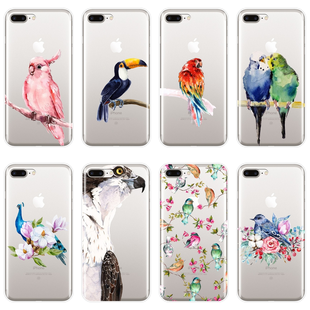 For <font><b>iPhone</b></font> X XR XS MAX 8 7 6S 6 S <font><b>Case</b></font> Silicone Soft Eagle Bird Flower Peacock Back Cover For <font><b>iPhone</b></font> 8 7 6S 6 S Plus Phone <font><b>Case</b></font> image