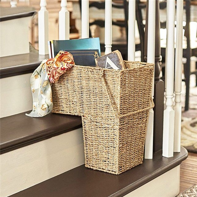 Seagrass Stylish Cosmetic Box With Handle Woven Wicker Stair Basket  Organizer Zakka Container Storage Clothes Children