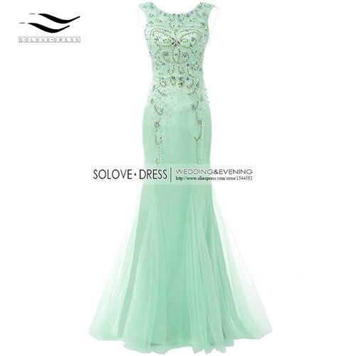 Элегантная ткань Накладка для кнопки рукав Кристалл бисером длинное платье выпускного вечера тюль русалка платье выпускного вечера Longo Vestido de festa(SLP-011 - Цвет: Lime