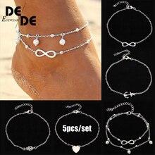5Pcs/lot Fashion Ladies Anklet Bracelet Foot Decorations Heart Anchor Alloy Vintage Ankle Jewelry