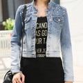 Женская бисером отверстие С Длинным рукавом короткие дизайн джинсовая куртка Джинсовая короткие Пиджаки Ретро женщины Пальто femininas