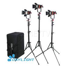 3 Pcs CAME TV Boltzen 55 w Fresnel โฟกัส LED Daylight ชุด Light Stands