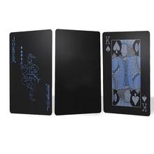 Citygirl 55 Pcs / Deck Poker Waterproof Plastic PVC Set Playing Cards Pure Black Regular
