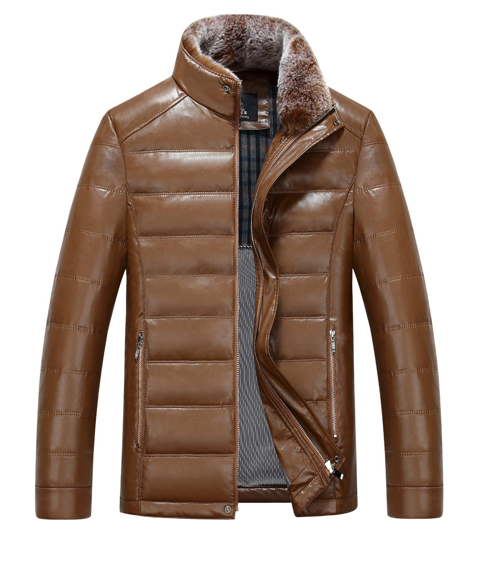 2016 Men winter leather jacket men short slim leather leather coat collar sheep skin thickening Down Jacket Coat