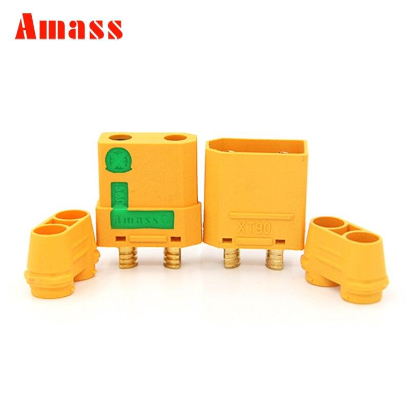 2pcs Amass XT90H XT90-S Connectors Male Female Plugs XT90 XT90S Anti Spark Cover Sheath Bullet Sparkproof RC Lipo Battery Parts