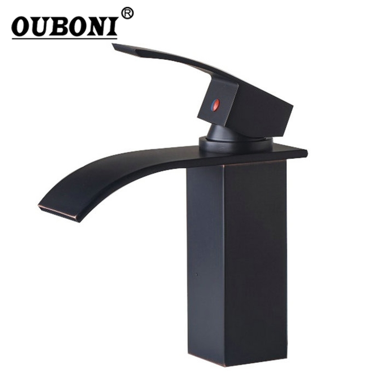 Oil Rubbed Bronze Bathroom Basin Mixer Faucet Deck Mounted Black Basin Sink Mixer Tap Faucet black oil rubbed bronze bathroom accessory wall mounted toothbrush holder with two ceramic cups wba197