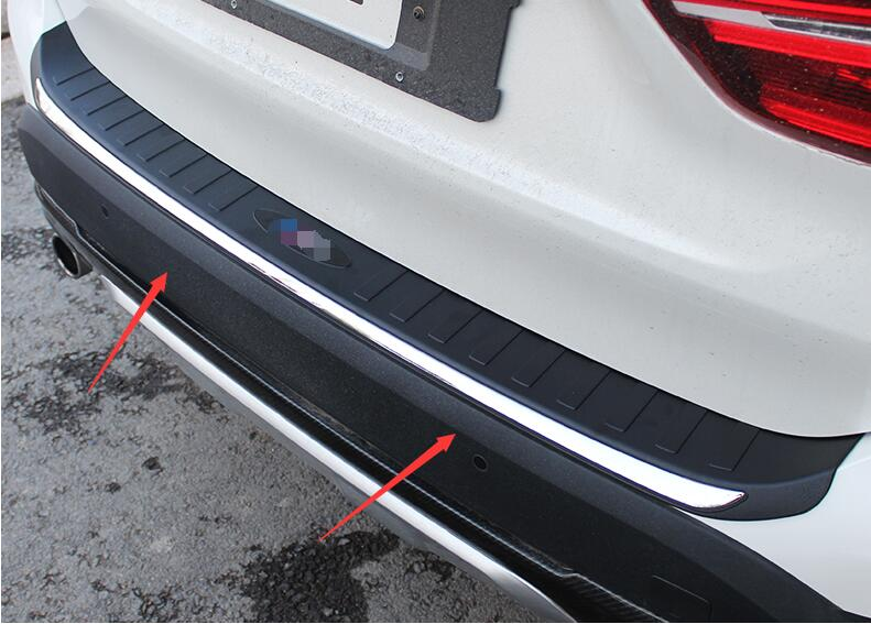 For BMW X1 F48 2016 2017 black plastic and stainless steel Rear Boot Outer Bumper Guard Plate Protector 1PCS Car modification stainless steel rear outer bumper protector guard plate for jeep grand cherokee 2014