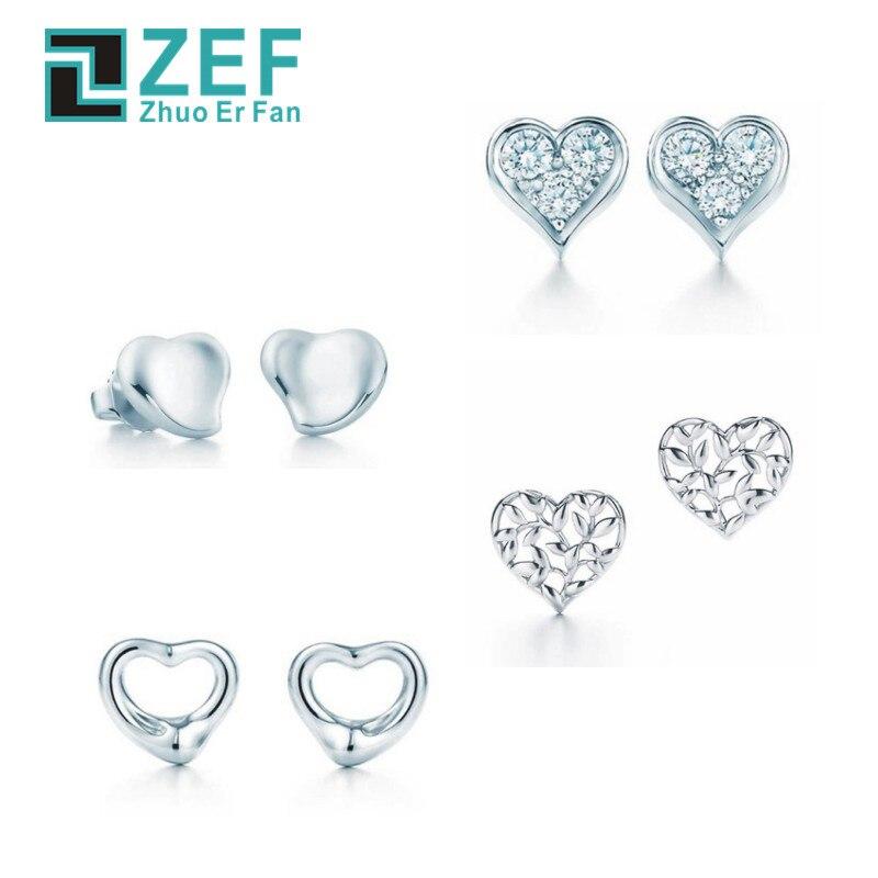 ZEF 925 sterling silver earrings,2019 Heart shape Elegant and elegant classic luxury Glamour original ladies jewelry.ZEF 925 sterling silver earrings,2019 Heart shape Elegant and elegant classic luxury Glamour original ladies jewelry.