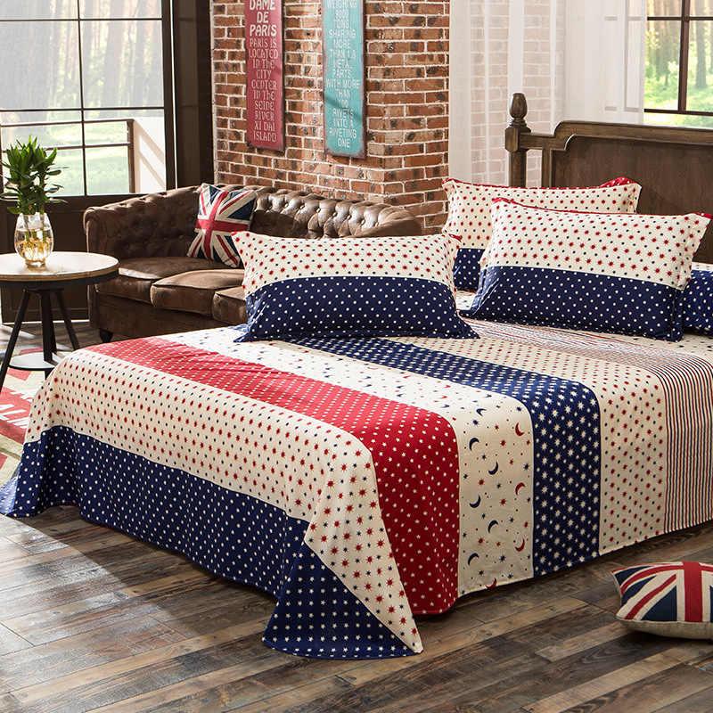100% хлопок Звезды Луна полосатый плоский лист для одной двойной кровати детей взрослых спальни использовать простынь (без наволочки) XF638-11