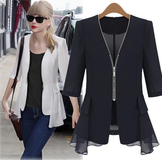 Fashion Women Autumn Slim Outerwear Half Sleeve Chiffon Blazer Coats Elegant Office Ladies Suit Jacket Color Black/White