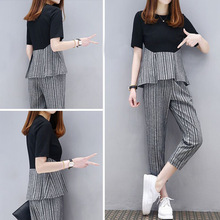 Plus Size Large 2 Piece Sets matching Womens Outfits Summer Striped Pants Suits and Top Tracksuit Sportswear Co-ord Set Clothing