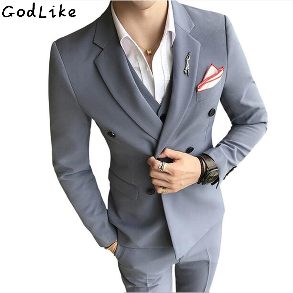 GODLIKE Classic double breasted Men 3 Piece Suits Male Fashion Slim Fit Wedding Suits Groom Business Casual Blazer Suit Sets