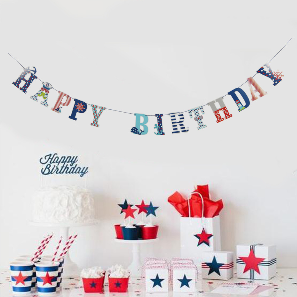 Red Navy Happy Birthday Banner Nautical Themed Pap...