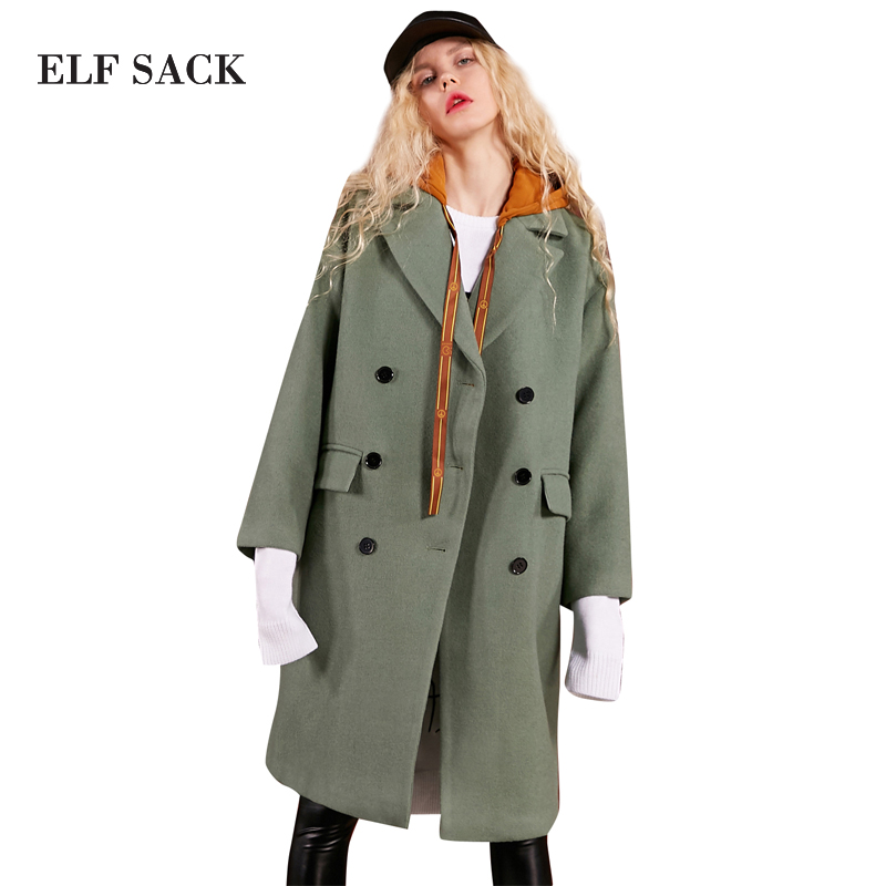 ELF SACK 29.1% Wool Coats Women Winter Hooded Fake Two Pieces Womens Long Coats Loose Pockets Outerwear Female Casual Coats