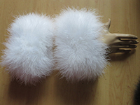 Women's Real Genuine Ostrich Feather Fur  Cuffs Winter Warm Sleeves To Protect Your Wrist A Pair Of Black White