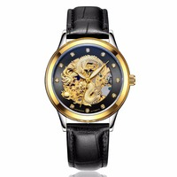 LAOGESHI Luxe Dragon & phoenix liefhebbers mannen horloge vrouwen lederen holle graveren automatische mechanische horloges Goud klok gift-in Mechanische Horloges van Horloges op
