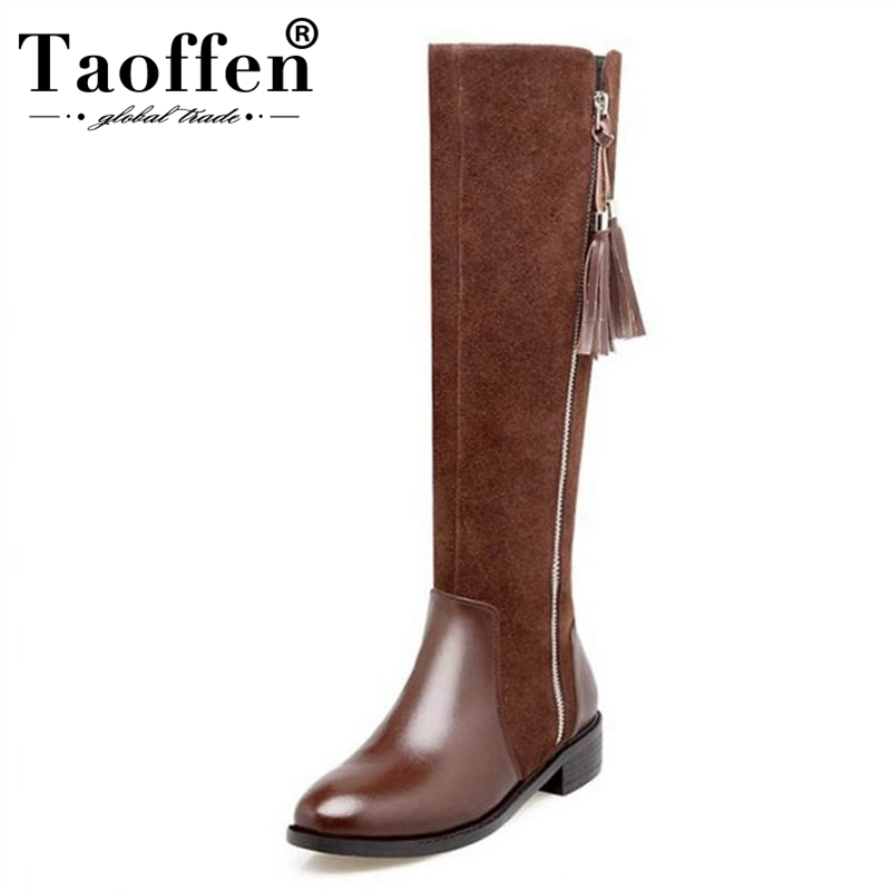 TAOFFEN Genuine Thick Fur Winter Women Boots Zipper Side Knee High With Warm Fur Real Natural