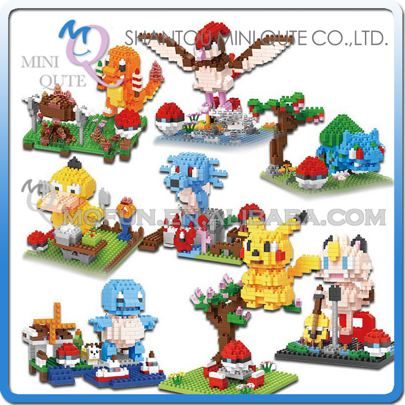 Full Set 8pcs Mini Qute BOB 3D Kawaii cartoon Pikachu Charmander Pidgeotto Meowt plastic building block figures educational toy beibehang shop for living room bedroom mediterranean wallpaper stripes wallpaper minimalist vertical stripes flocked wallpaper