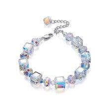 4b86025baf01 Cuentas de lujo cadena brazaletes de la pulsera de cristales de SWAROVSKI  de Color plata de pulsera encanto pulsera de la joyerí.