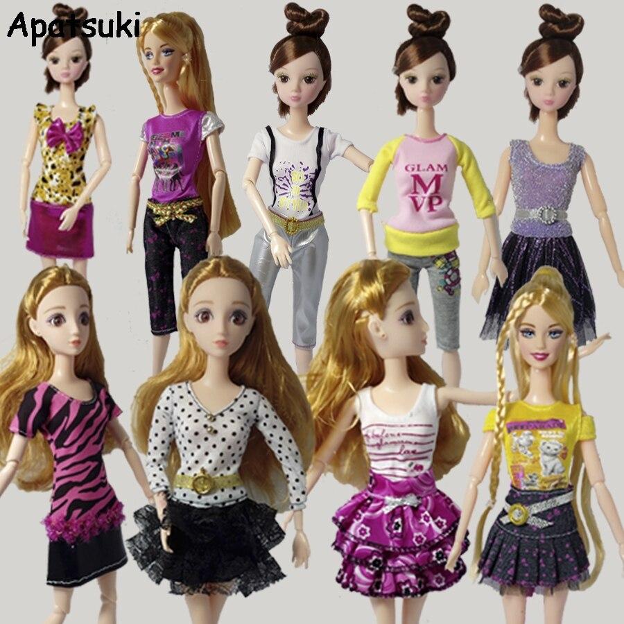 5pcs/lot Pretty Dresses For Barbie Doll Clothes Fashion Outfits For 1/6 Dolls Short Dress One Piece Dressses Tutu Random Sent