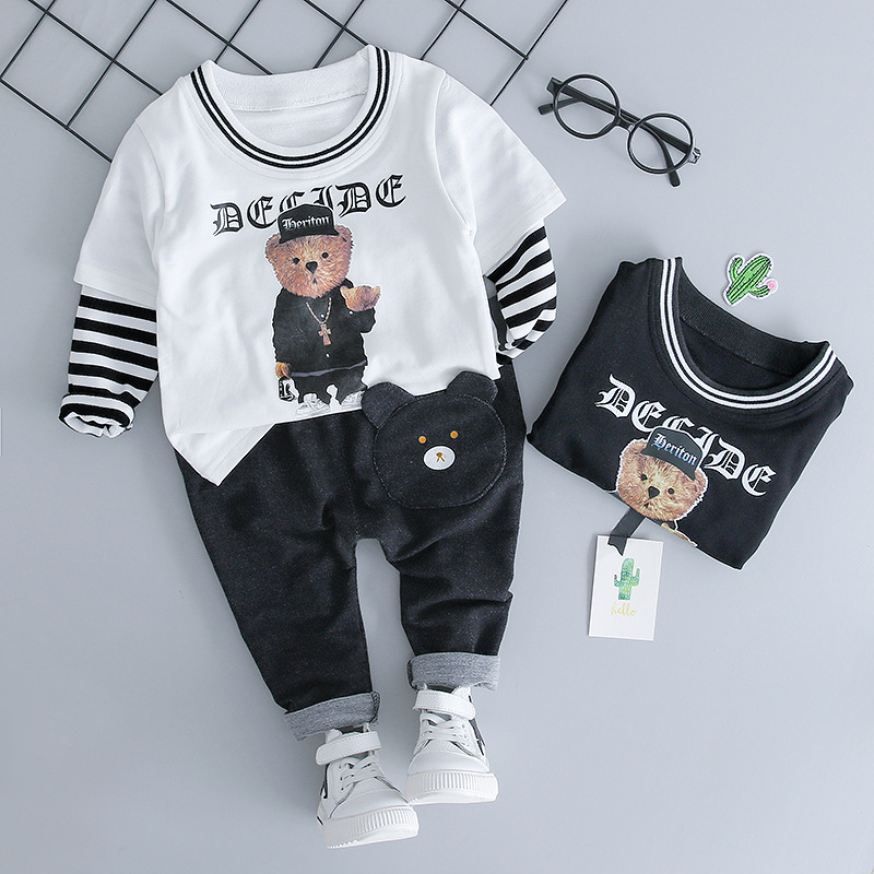 Long sleeve Autumn Kids Clothes Sets Cartoon bear Boy T-shirt +Pants 2pcs Sport Clothing Set Newborn Suits Children Clothes