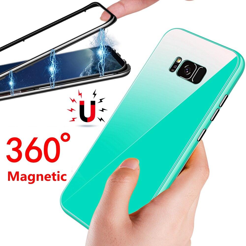 Adsorption magnétique Flip Cas de Téléphone Pour Samsung Galaxy S8 Plus S8Plus De Luxe Coque Couverture Pour Samaung Galaxy S8 Plus Cas s8