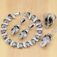 Mystic Rainbow Fire Cubic Zirconia Jewelry Sets Silver 925 Jewelry Decorations For Women Earrings Pendant Necklace