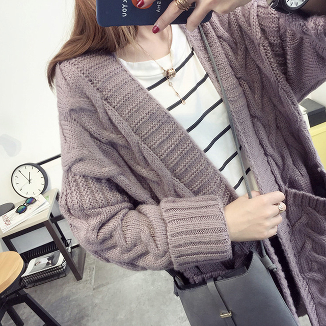 BiSHE Long Cardigan Female 2017 Autumn Long Sleeve Plus Size Solid Cardigan Women Sweater Pockets Women Knitted Jacket Tops