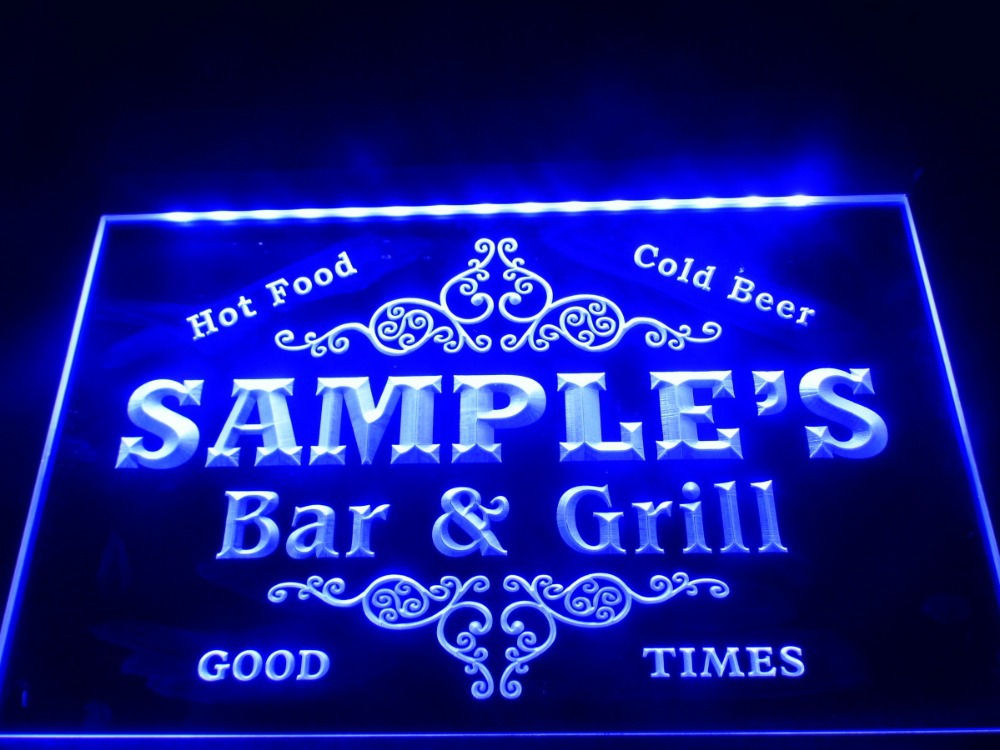 Light Up Signs Custom: DZ058 Name Personalized Custom Family Bar & Grill Beer