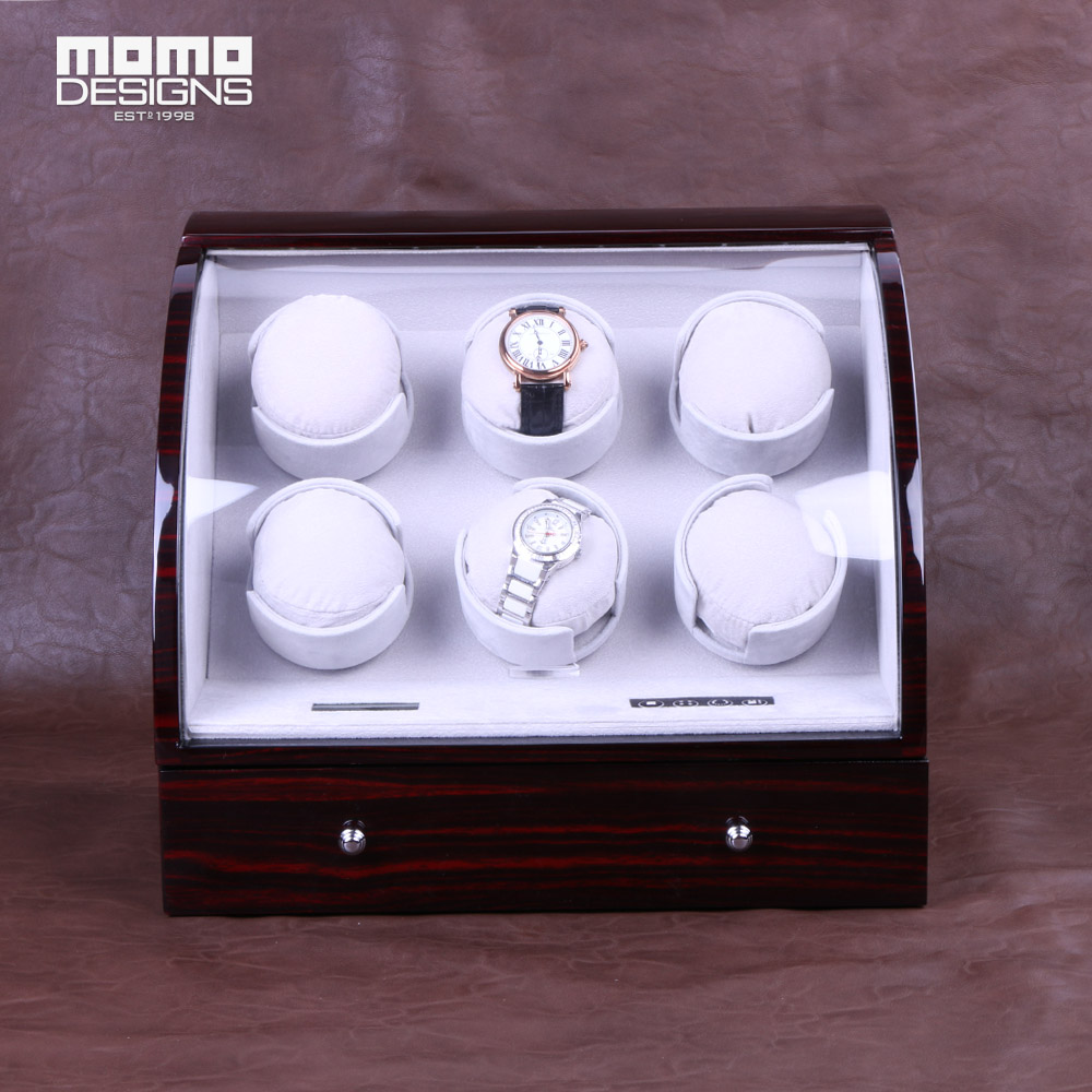 Luxury wooden watch winder with LCD control, High quality 6+3 Automatic watch core winder box watch storage case Birthday gifts ultra luxury 2 3 5 modes german motor watch winder white color wooden black pu leater inside automatic watch winder
