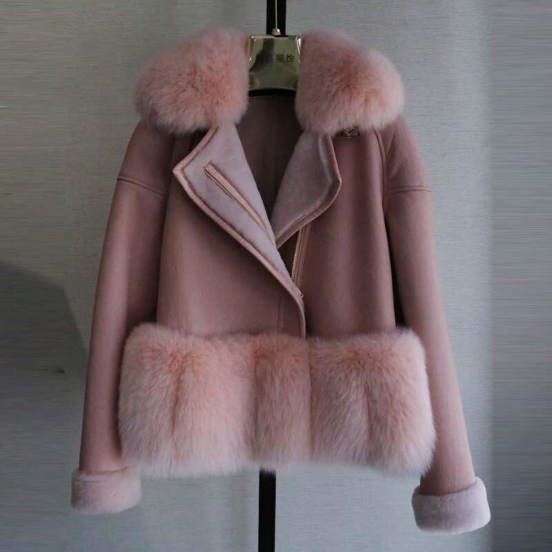 BFFUR 2017 Nova Natural Genuine Fur Jaqueta Curta Moda Feminina Casaco de pele de Inverno Mulheres de pele de Carneiro Merino & Real da Pele De Fox casaco