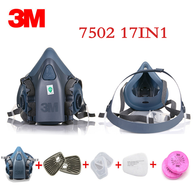 3M 7502 Gas mask 17 in 1 half Face Respirator Spray Painting Protection Respirator Dust mask with 2091 fiter 9 in 1 suit gas mask half face respirator painting spraying for 3 m 7502 n95 6001cn dust gas mask respirator