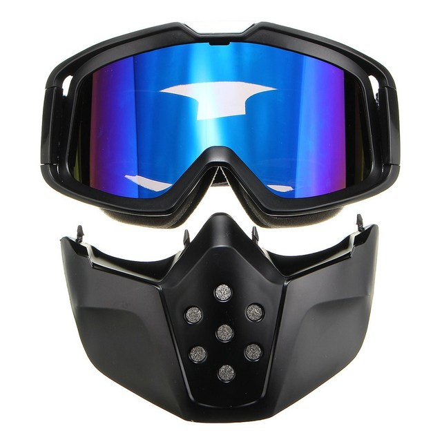 Blue Riding Detachable Modular Face Mask Shield Goggles For Motorcycle Ridding Helmet