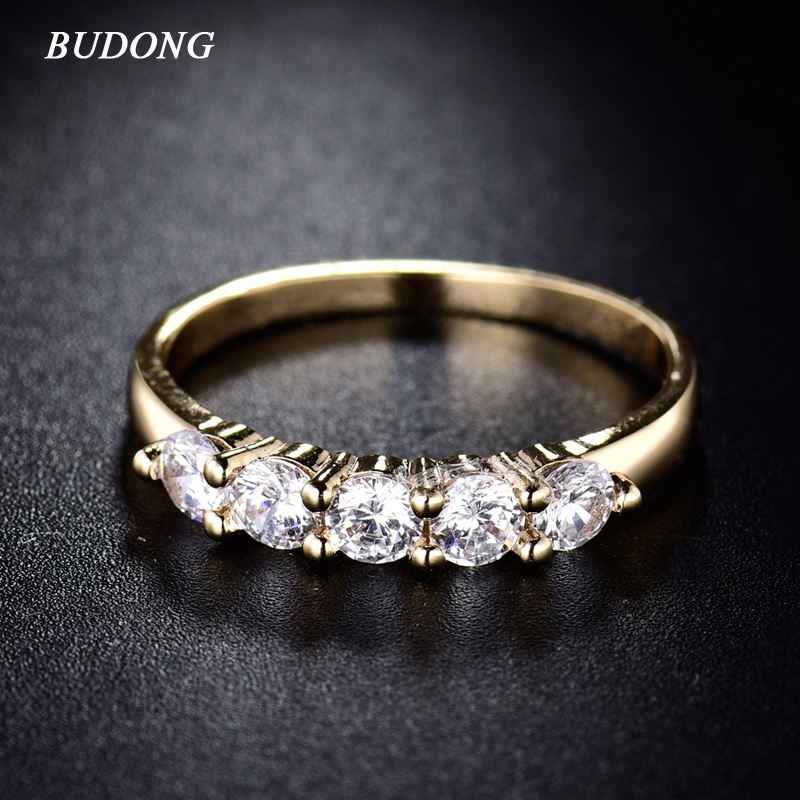 BUDONG Fashion Round Finger Ring for Women Gold Color Rings White Crystal Zirconia Mid Finger Wedding Engagement Jewelry XUR183
