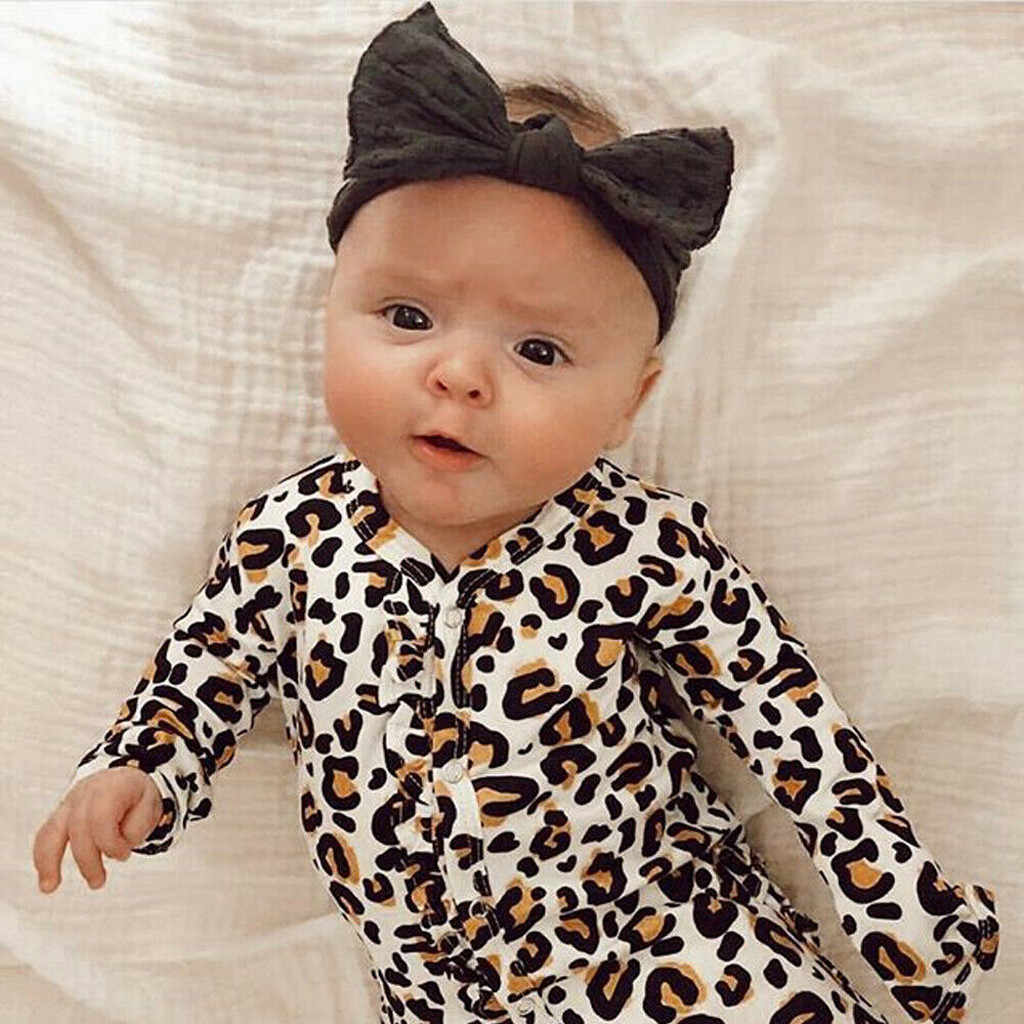 SAGACE Leopard Print Newborn Girl Boy Romper With Long Sleeves Clothes Newborn Infant  Baby Girls Backless Jumpsuit Outfits Suit