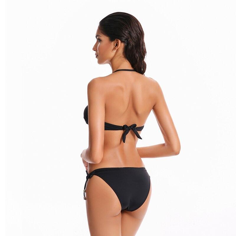 74a208fefcc5c 2018 Hot Lady Black Bikini Set Sexy Women Swim Suit Halter Neck Bandeau  Swimsuit Bandage Swimwear Brazilian Biquini Beachwear-in Bikinis Set from  Sports ...