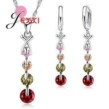 Jexxi красочные кубический циркон 925 серебро Цепочки и ожерелья/Серьги/подвеска комплект ювелирных изделий для Для женщин/Обувь для девочек цена оптовой продажи