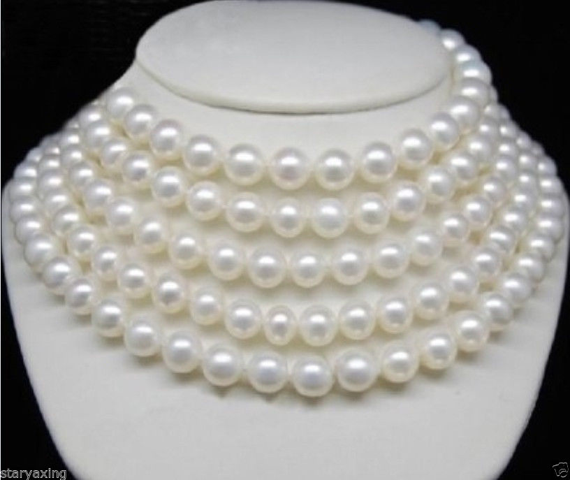 Free Shipping >>XFTN DRY Beautiful AA++ 9-10MM South Sea WHITE PEARL NECKLACE 70 INCH