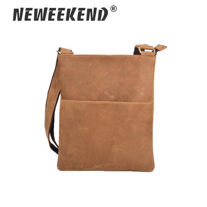 Brands Men Messenger Bags Genuine Leather Shoulder Bags Male Thin Business Crossbody Bags for Men Zipper