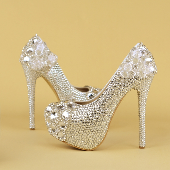 Crystal shoes silver high-heeled bride dress wedding shoes performance dinner photo silver diamond platform heels  shoes womanCrystal shoes silver high-heeled bride dress wedding shoes performance dinner photo silver diamond platform heels  shoes woman
