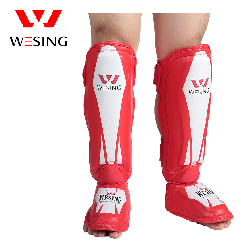 Wesing Muay Thai Boxing Training Kickboxing Knee Support Brace MMA Shin Instep Guard Knee Pads Protective wesing aiba approved boxing gloves 12oz competition mma training muay thai kickboxing sanda boxer gloves red blue