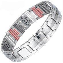 Mesinya магнитный энергетический германиевый Мощность браслет здоровья 4 in1 биоповязка Титан Для женщин Для мужчин, ювелирное изделие, подарок