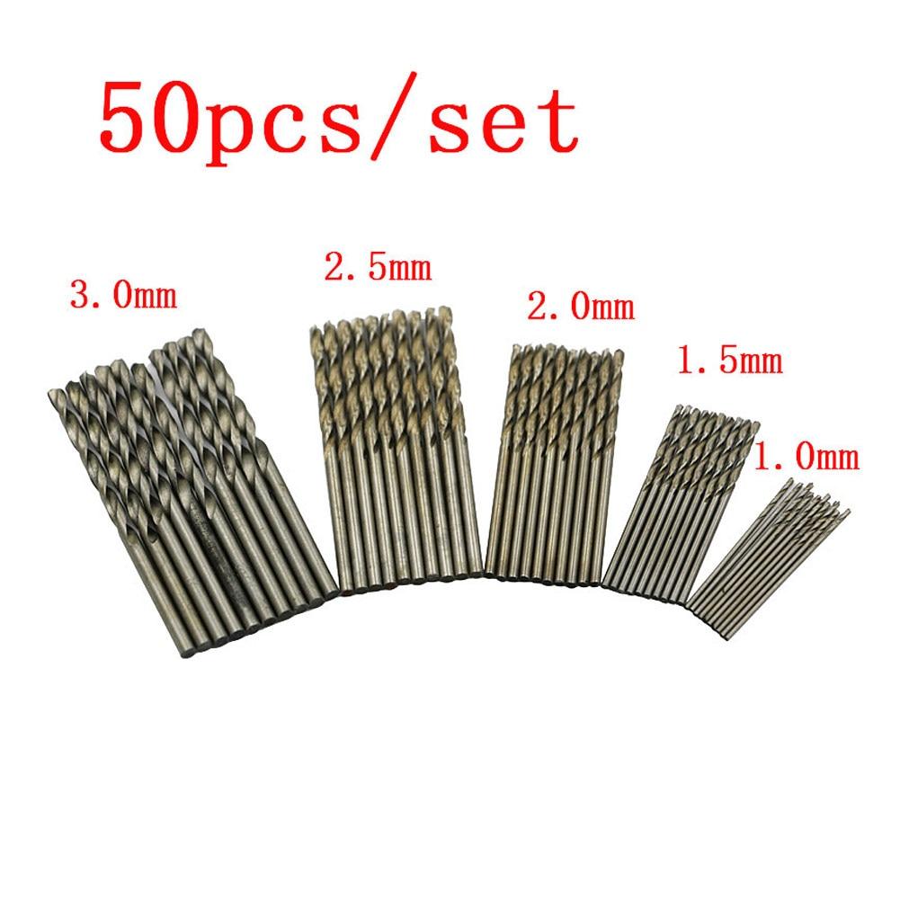 50 Pcs/Set Metric HSS High Speed Steel Twist Drill Bits Set 1.0mm 1.5mm 2.0mm 2.5mm 3.0mm 28pcs set mini micro hss4241 twist drill bits set metric sizes 0 3 3 0mm for pcb thin aluminum iron sheet plastic